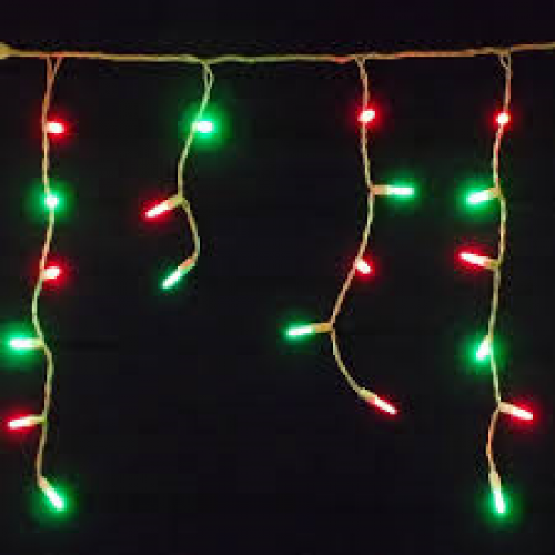 30m icicle lights red green